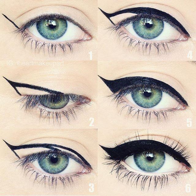 tutorial grafico su eyeliner diviso per riquadri con tutte le fasi fino alla riga finale